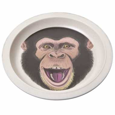 Bamboe ontbijtbord chimpansee voor kinderen 21 cm