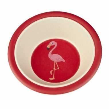 Bamboe ontbijtkom flamingo voor kinderen 16 cm