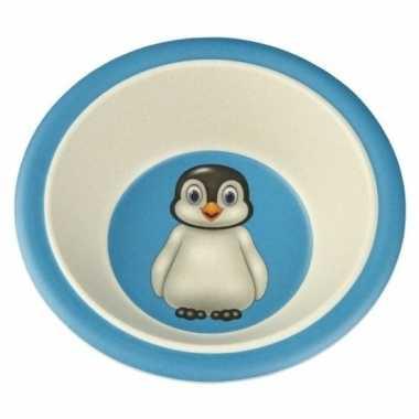 Bamboe ontbijtkom pinguin voor kinderen 16 cm