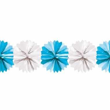 Blauw met witte waaier slinger 5 m