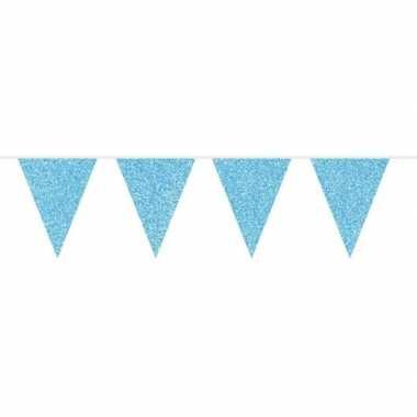 Blauwe glitter vlaggenlijn 10 meter