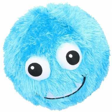 Blauwe pluche bal met gezicht 23 cm