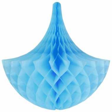 Decoratie kroonluchter lichtblauw 35 cm