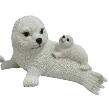 Dierenbeeld zeehond met jong op moeder 27 cm