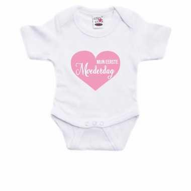 Eerste moederdag cadeau baby rompertje wit jongen/meisje