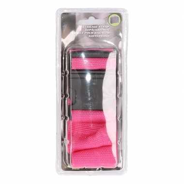 Fuchsia roze verstelbare kofferriem extra sterk
