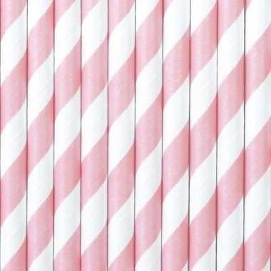 Gestreepte rietjes lichtroze/wit 20 stuks van papier