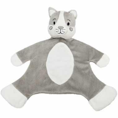 Grijs/witte kat/poes tuttel/knuffeldoekje 36 cm
