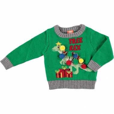 Groene baby kersttrui/foute kersttrui tree-rex