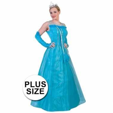 Grote maat blauwe prinsessenjurk voor volwassenen
