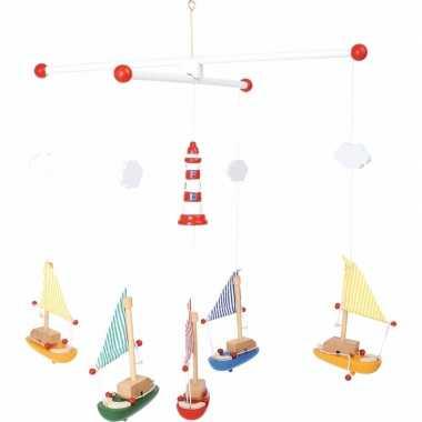 Hangdecoratie mobiel met zeilboten 39 cm