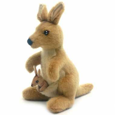 Hansa pluche kangoeroe knuffel met baby 20 cm