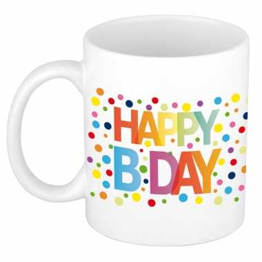 Happy birthday met gekleurde confetti verjaardags koffiemok theebeker 300 ml