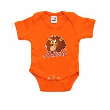 Holland met cartoon leeuw oranje romper ek/ wk supporter voor babys