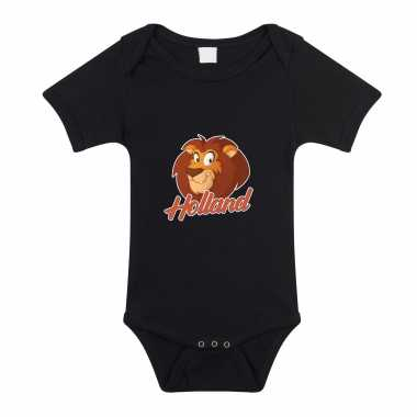 Holland met cartoon leeuw zwart romper ek/ wk supporter voor babys