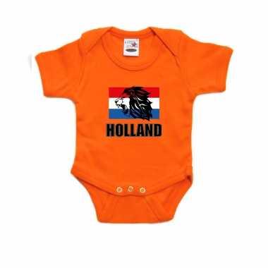 Holland met leeuw en vlag oranje romper holland supporter ek/ wk voor babys
