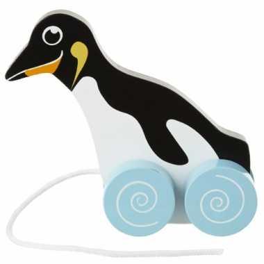 Houten trekdiertje pinguin 13 cm