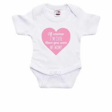 I am cute have you seen my mom cadeau baby rompertje wit jongen/meisje