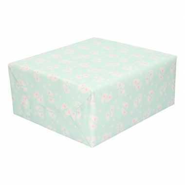 Inpakpapier/cadeaupapier baby 200 x 70 cm pastel groen