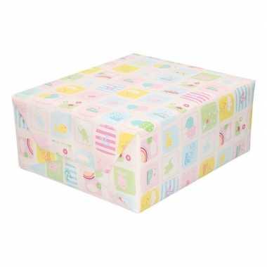 Inpakpapier/cadeaupapier baby 200 x 70 cm pastel print