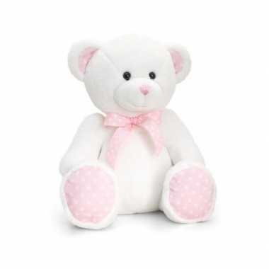 Keel toys pluche baby girl beer knuffel wit met roze 35 cm