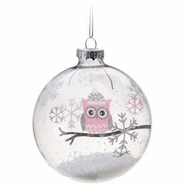 Kerstboom decoratie kerstbal roze uiltje 7 cm
