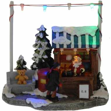 Kerstdorp cadeau kraampje/winkeltje 16 cm met led verlichting