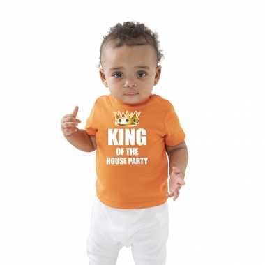 King of the house party met kroon koningsdag t-shirt oranje baby/peuter voor jongens