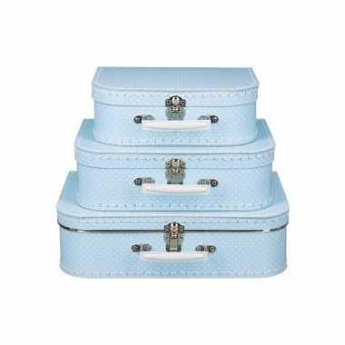 Koffertje licht blauw met witte stipjes 25 cm