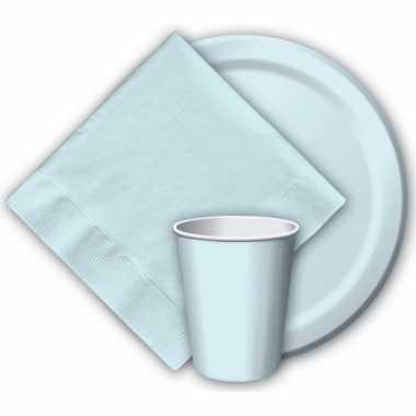 Lichtblauwe papieren bekertjes 8 stuks