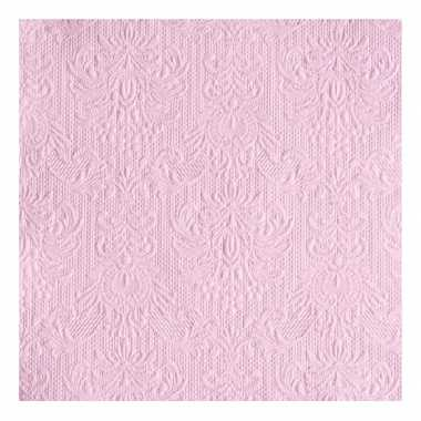 Luxe servetten barok patroon roze 3-laags 15 stuks
