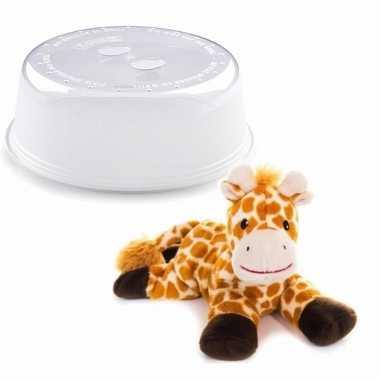 Magnetron warmte knuffel giraffe bruin 18 cm met opwarm deksel