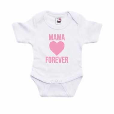 Mama forever roze hart cadeau baby rompertje wit jongen/meisje