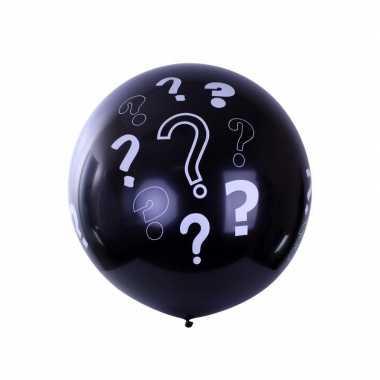 Mega ballon zwart met vraagtekens