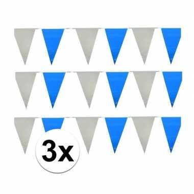 Oktoberfest - 3x vlaggenlijnen lichtblauw en wit