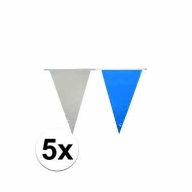 Oktoberfest - 5x vlaggenlijnen lichtblauw en wit