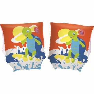Opblaasbare zwembandjes schildpad oranje voor kinderen