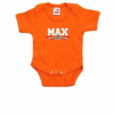Oranje baby romper max auto coureur supporter / race supporter voor babys