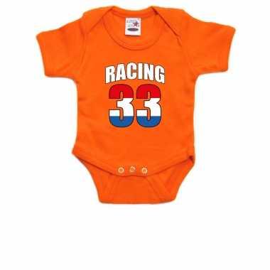 Oranje baby romper racing 33 met race auto coureur supporter / race supporter voor babys