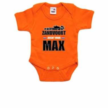 Oranje baby romper zandvoort juicht voor max met race auto coureur supporter / race supporter voor b