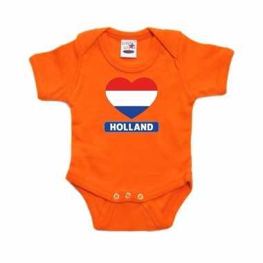 Oranje rompertje holland hart vlag baby