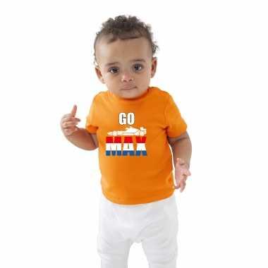 Oranje t-shirt go max met race auto coureur supporter / race supporter voor baby / peuter