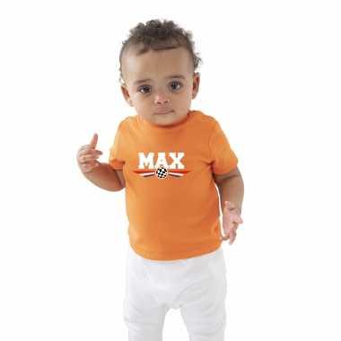 Oranje t-shirt max coureur supporter / race supporter voor baby / peuter