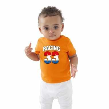Oranje t-shirt racing 33 coureur supporter / race supporter voor baby / peuter