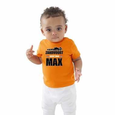 Oranje t-shirt zandvoort juicht voor max met race auto coureur supporter /race supporter voor babys