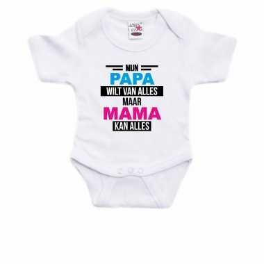 Papa wilt van alles mama kan alles cadeau baby rompertje wit jongen/meisje