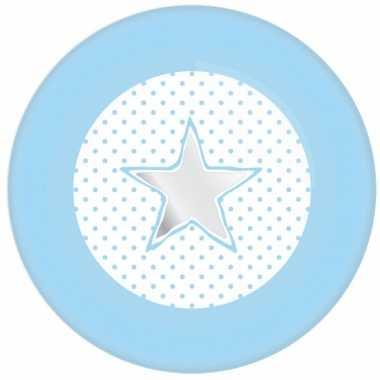 Papieren bordjes ster geboorte jongen 8 stuks