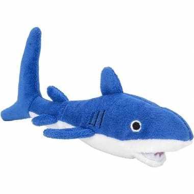 Pluche blauwe haai knuffel 13 cm baby speelgoed