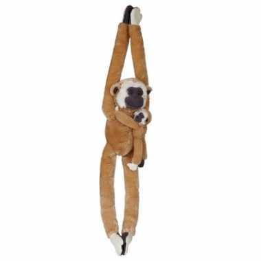 Pluche gibbon aap met baby knuffel 84 cm