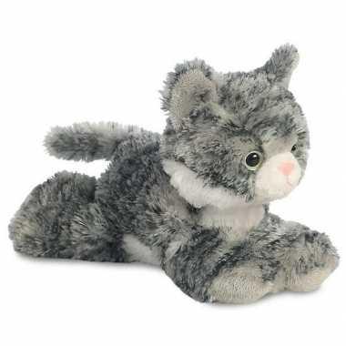 Pluche grijs/witte kat/poes knuffel 20 cm speelgoed